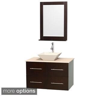 Wyndham Collection Centra 36-inch Single Bathroom Vanity in Espresso, w/ Mirror (Bone Porcelain or White Porcelain)