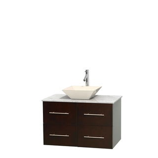 Wyndham Collection Centra 36-inch Single Bathroom Vanity in Espresso, No Mirror (Bone Porcelain or White Porcelain)