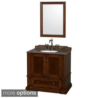 Wyndham Collection Rochester 36-inch Single Bathroom Vanity Cherry, 24-inch Mirror