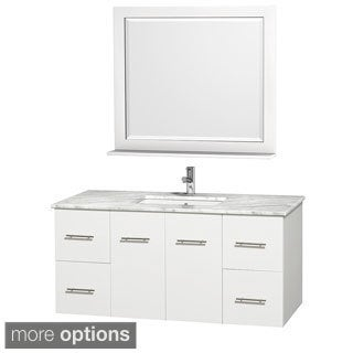 Wyndham Collection Centra White 48-inch Single Carrera Marble Bathroom Vanity with Mirror