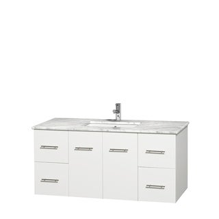Wyndham Collection Centra White 48-inch Single Carrera Marble Vanity