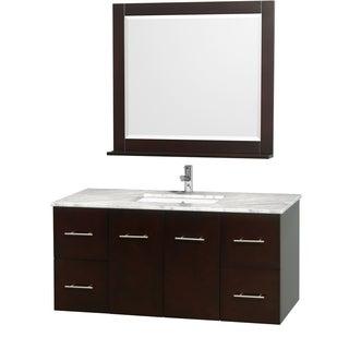 Wyndham Collection Centra Espresso 48-inch Single Carrera Marble Bathroom Vanity with Mirror