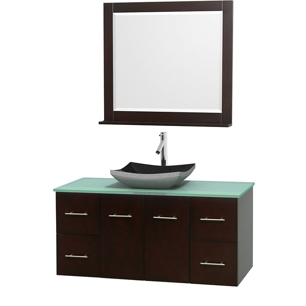 Wyndham Collection Centra Espresso 48-inch Single Green Glass Bathroom Vanity with Mirror 13978155