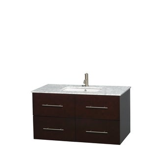 Wyndham Collection Centra Espresso 42-inch Single Carrera Marble Bathroom Vanity