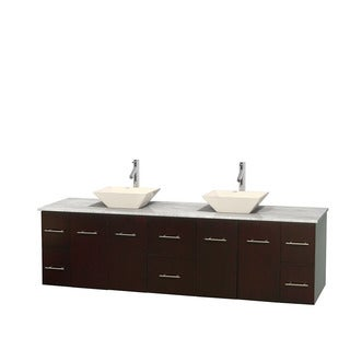Wyndham Collection Centra 80-inch Double Bathroom Vanity in Espresso, No Mirror (Bone Porcelain or White Porcelain)