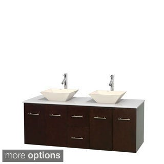 Wyndham Collection Centra 60-inch Double Bathroom Vanity in Espresso, No Mirror (Bone Porcelain or White Porcelain)