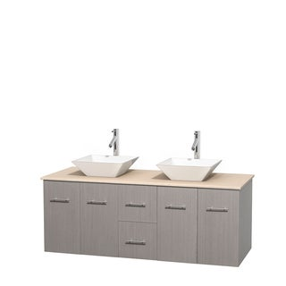 Wyndham Collection Centra 60-inch Double Bathroom Vanity in Grey Oak, No Mirror (Bone Porcelain or White Porcelain)