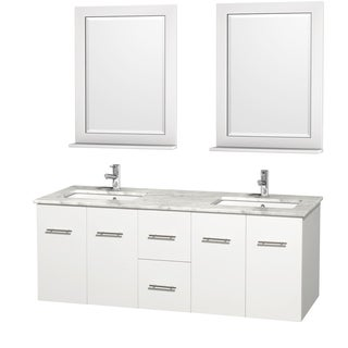 Wyndham Collection Centra 60-inch Double Bathroom Vanity in White, with Mirrors