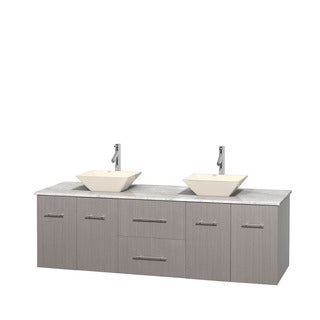 Wyndham Collection Centra Grey Oak 72-inch Double Carrera Marble Vanity