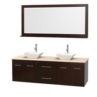 Wyndham Collection Centra 72-inch Double Bathroom Vanity in Espresso, w/ Mirror (Bone Porcelain or White Porcelain)