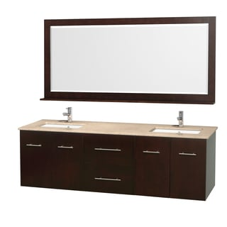 Wyndham Collection Centra 72-inch Double Bathroom Vanity in Espresso, with Mirror