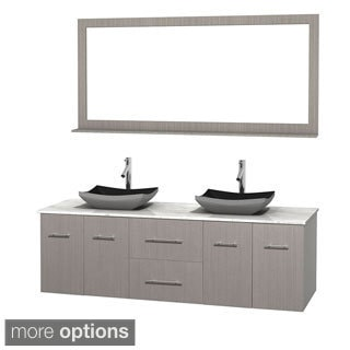 Wyndham Collection Centra 72-inch Double Bathroom Vanity in Grey Oak, w/ Mirror (Black Granite, Ivory Marble or White Carrera)