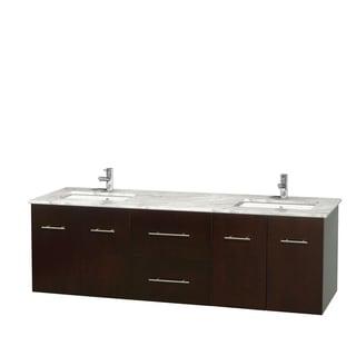 Wyndham Collection Centra 72-inch Double Bathroom Vanity in Espresso, No Mirror