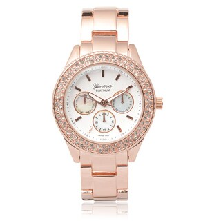 Geneva Platinum Rhinestone Chronograph Link Watch