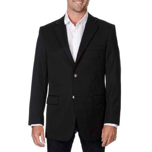 Cianni Cellini Men's Black Wool Gabardine Blazer