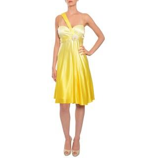 Marc Bouwer Glamit Women's Yellow One-shoulder Silk Cocktail Evening Dress