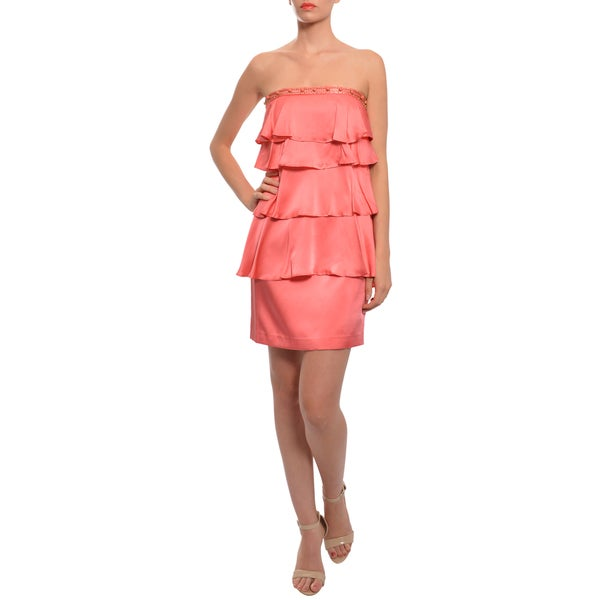 Laundry Women's Coral Silk Cascade Beaded Cocktail Party Dress