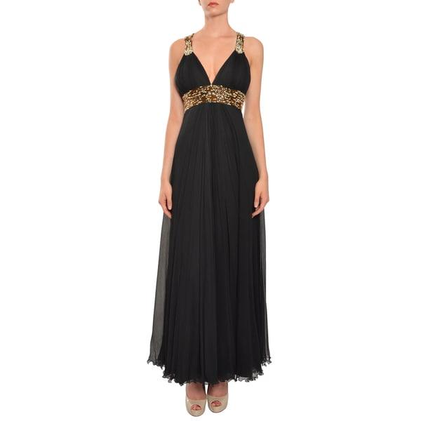 Printing Arte Women's Black Crinkle Silk Beaded Gown Dress