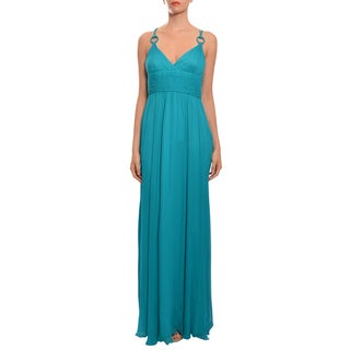 Aidan Mattox Women's Blue Textured Silk Evening Gown Dress