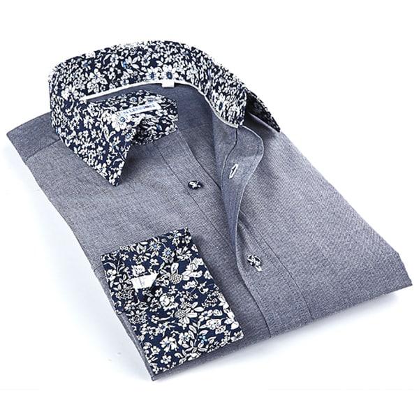 John Lennon Men's Navy Floral Button-up Sport Shirt