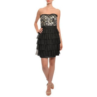 Phoebe Women's Black Bustier Style Polka-dot Cocktail Evening Dress