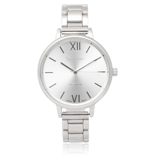 Geneva Platinum Round Face Link Watch