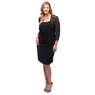 Alex Evenings Women's Plus Black Lace-sleeve Cocktail Dress