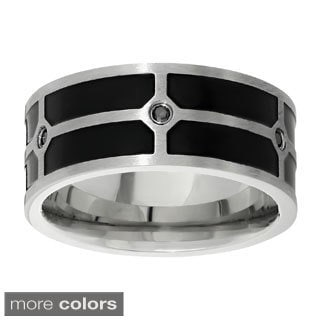 Stainless Steel Cubic Zirconia Ring with Black Resin Accent