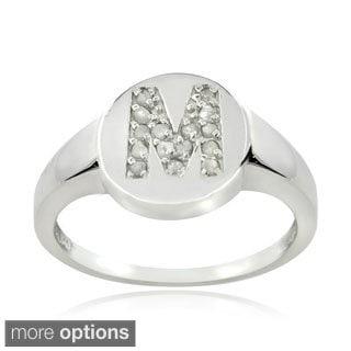DB Designs Sterling Silver 1/6ct TDW Diamond M Initial Ring