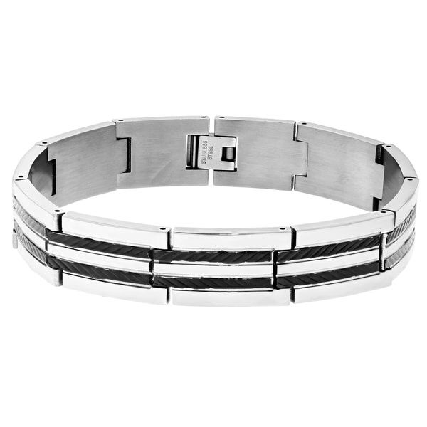 Stainless Steel Ribbed Design Two-tone Link Bracelet