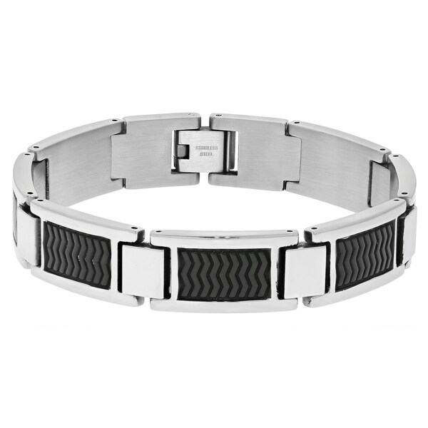 Stainless Steel Textured Two-tone Link Bracelet