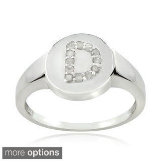 DB Designs Sterling Silver 1/8ct TDW Diamond D Initial Ring