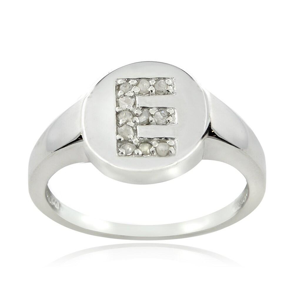 DB Designs DB Designs Sterling Silver 1/10ct TDW Diamond E Initial Ring