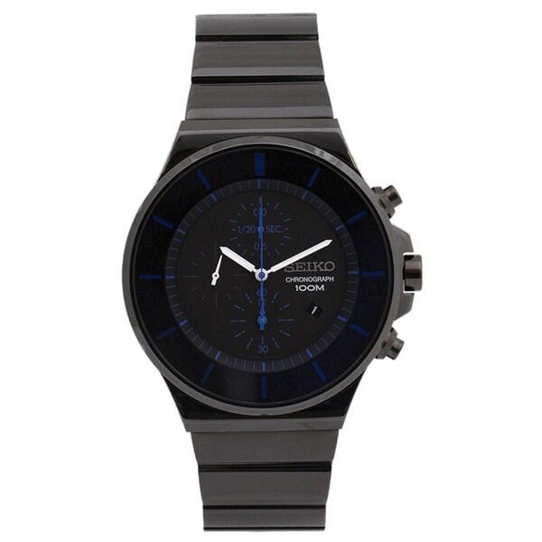Seiko Men's SNDD59 Classic Chronograph Black Ion Watch