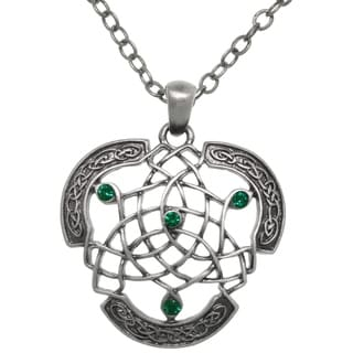 Carolina Glamour Collection Pewter Celtic Dream Catcher Emerald Crystal Pendant 24-inch Chain Necklace