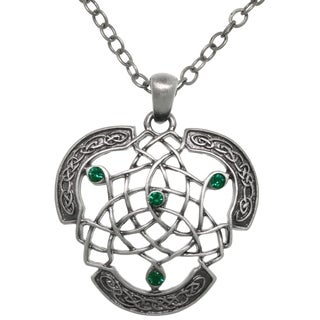 CGC Pewter Celtic Dream Catcher Emerald Crystal Pendant 24-inch Chain Necklace