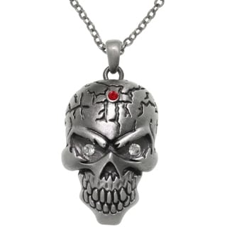 CGC Pewter Large Skull Head Crystal Eyes Pendant 24-inch Chain Necklace