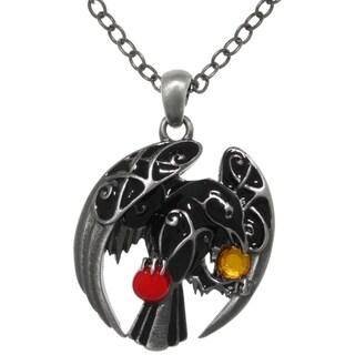 CGC Pewter Celtic Black Raven Treasures 24-inch Chain Pendant Necklace