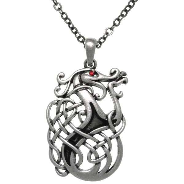 Pewter Celtic Dragon Knot Medallion 24-inch Pendant Chain Necklace 13980776
