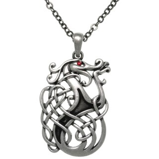 CGC Pewter Celtic Dragon Knot Medallion 24-inch Pendant Chain Necklace