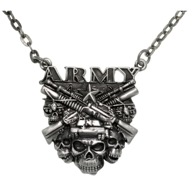 CGC Pewter Army Skulls Chain Pendant Necklace