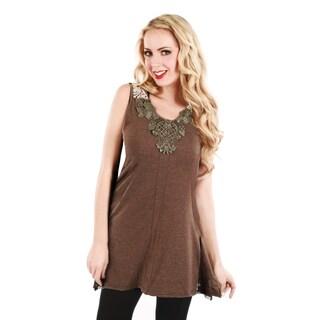 Women's Brown Sleeveless V-neck Tunic