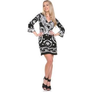 White Mark Women's Madelyn Black/ White Paisley Bell Sleeve Dress