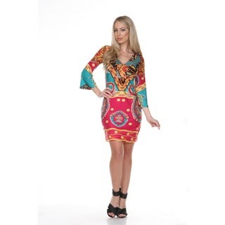 White Mark Women's Madelyn Pink/ Teal Paisley Bell Sleeve Dress