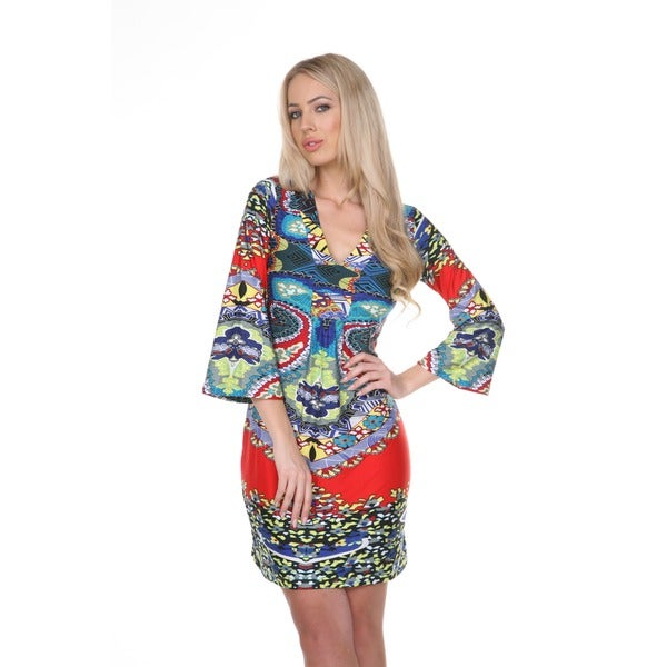 White Mark Women's Madelyn Red/ Blue Floral Bell Sleeve Dress