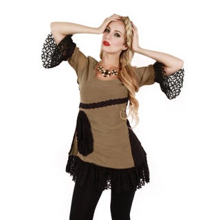 Firmiana Women's Beige 3/4-length Sleeve Lace Tunic