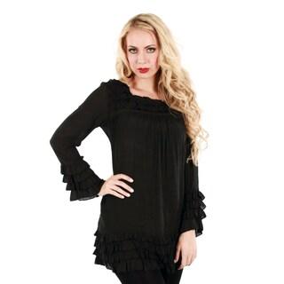 Women's Black Long Sleeve Ruffle Top