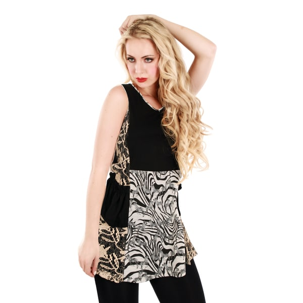 Firmiana Women's Black Sleeveless Multi Animal Pattern Tunic