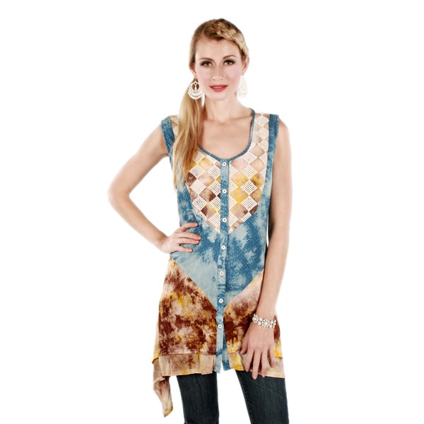 Firmiana Women's Blue Tie-dye Sleeveless Tunic