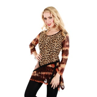 Women's Leopard Floral Lace Long Sleeve Tunic